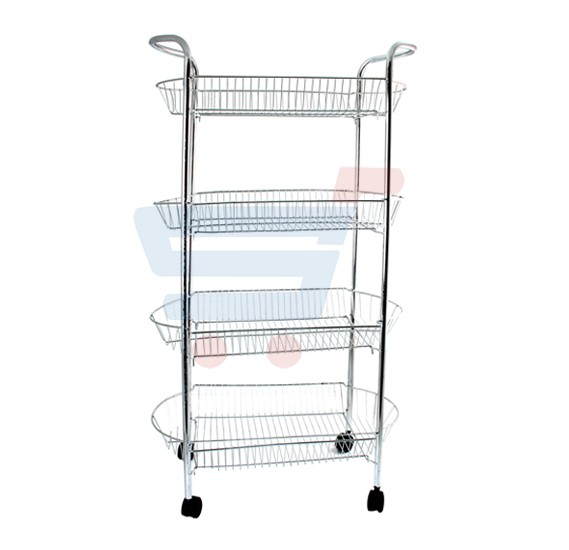 In-house 4 Tier Kitchen Fruit & Vegetable Rack On Wheels Deep Storage Stand Cart Trolley RS-4512